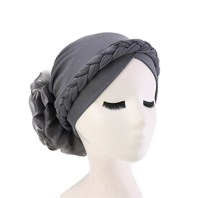 Shantel Braided Headwrap Big Flower Chemo Hat Pre-tied Caps For Women, New Style Braided Turban, African Twist Bandanna, Hair Unique Accessories_Gray