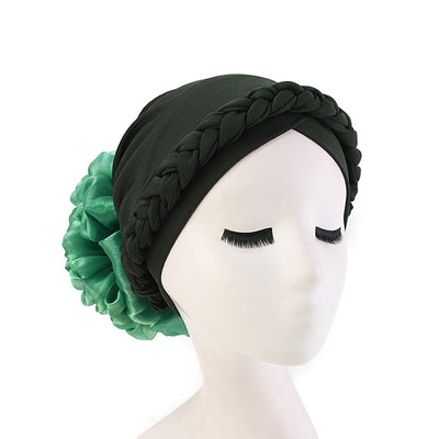 Shantel Braided Headwrap Big Flower Chemo Hat Pre-tied Caps For Women, New Style Braided Turban, African Twist Bandanna, Hair Unique Accessories_Green