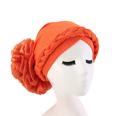 Shantel Braided Headwrap Big Flower Chemo Hat Pre-tied Caps For Women, New Style Braided Turban, African Twist Bandanna, Hair Unique Accessories_Orange