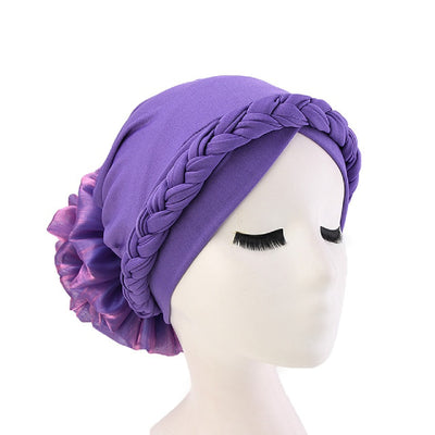 Shantel Braided Headwrap Big Flower Chemo Hat Pre-tied Caps For Women, New Style Braided Turban, African Twist Bandanna, Hair Unique Accessories_Purple-5