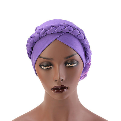 Shantel Braided Headwrap Big Flower Chemo Hat Pre-tied Caps For Women, New Style Braided Turban, African Twist Bandanna, Hair Unique Accessories_Purple-2