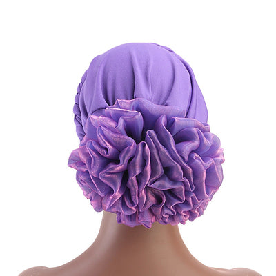 Shantel Braided Headwrap Big Flower Chemo Hat Pre-tied Caps For Women, New Style Braided Turban, African Twist Bandanna, Hair Unique Accessories_Purple-3