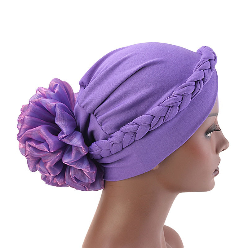 Shantel Braided Headwrap Big Flower Chemo Hat Pre-tied Caps For Women, New Style Braided Turban, African Twist Bandanna, Hair Unique Accessories_Purple