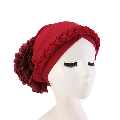 Shantel Braided Headwrap Big Flower Chemo Hat Pre-tied Caps For Women, New Style Braided Turban, African Twist Bandanna, Hair Unique Accessories_Red