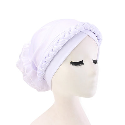 Shantel Braided Headwrap Big Flower Chemo Hat Pre-tied Caps For Women, New Style Braided Turban, African Twist Bandanna, Hair Unique Accessories_White