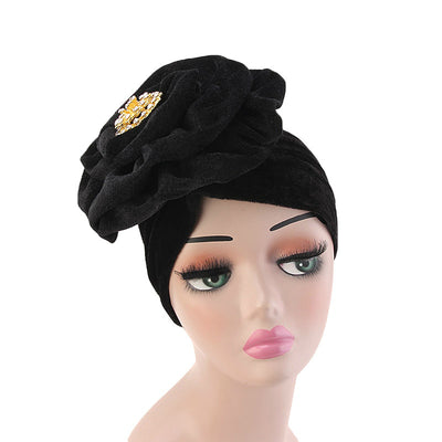Shira Queen Turban king flower Brooch Velvet Headcovers For Women, Fancy Chemo Cap Muslim Turbante, Elegant Hair Accessories Shop Online_Black