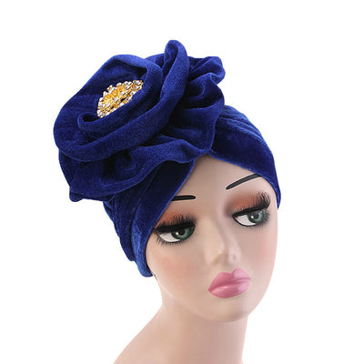 Shira Queen Turban king flower Brooch Velvet Headcovers For Women, Fancy Chemo Cap Muslim Turbante, Elegant Hair Accessories Shop Online_Blue