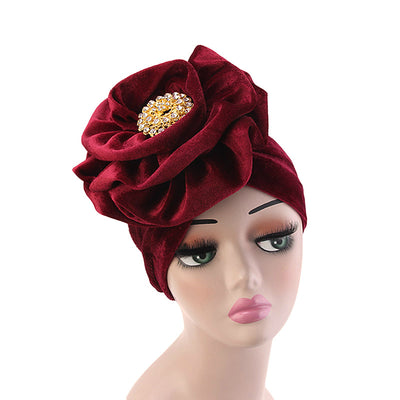 Shira Queen Turban king flower Brooch Velvet Headcovers For Women, Fancy Chemo Cap Muslim Turbante, Elegant Hair Accessories Shop Online_Red