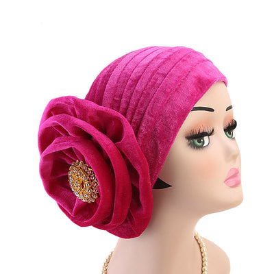 Shira Queen Turban king flower Brooch Velvet Headcovers For Women, Fancy Chemo Cap Muslim Turbante, Elegant Hair Accessories Shop Online_Fuchsia-2