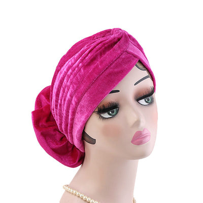 Shira Queen Turban king flower Brooch Velvet Headcovers For Women, Fancy Chemo Cap Muslim Turbante, Elegant Hair Accessories Shop Online_Fuchsia-3