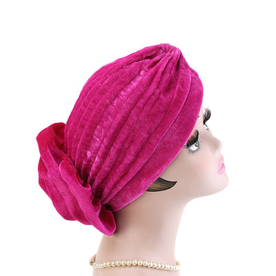 Shira Queen Turban king flower Brooch Velvet Headcovers For Women, Fancy Chemo Cap Muslim Turbante, Elegant Hair Accessories Shop Online_Fuchsia-4