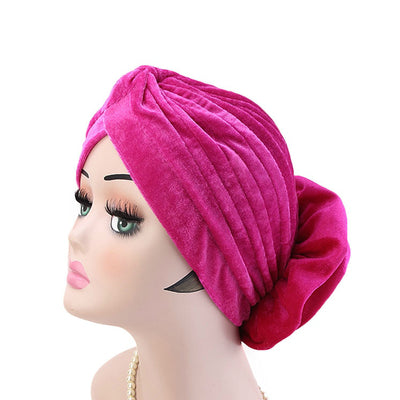 Shira Queen Turban king flower Brooch Velvet Headcovers For Women, Fancy Chemo Cap Muslim Turbante, Elegant Hair Accessories Shop Online_Fuchsia-6