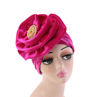 Shira Queen Turban king flower Brooch Velvet Headcovers For Women, Fancy Chemo Cap Muslim Turbante, Elegant Hair Accessories Shop Online_Fuchsia