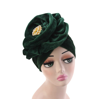 Shira Queen Turban king flower Brooch Velvet Headcovers For Women, Fancy Chemo Cap Muslim Turbante, Elegant Hair Accessories Shop Online_Green