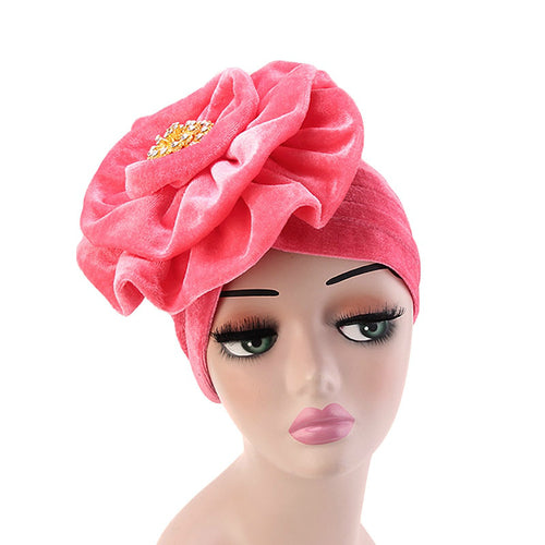 Shira Queen Turban king flower Brooch Velvet Headcovers For Women, Fancy Chemo Cap Muslim Turbante, Elegant Hair Accessories Shop Online_Pink