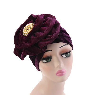 Shira Queen Turban king flower Brooch Velvet Headcovers For Women, Fancy Chemo Cap Muslim Turbante, Elegant Hair Accessories Shop Online_Purple
