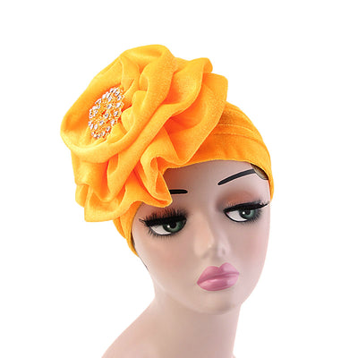 Shira Queen Turban king flower Brooch Velvet Headcovers For Women, Fancy Chemo Cap Muslim Turbante, Elegant Hair Accessories Shop Online_Yellow