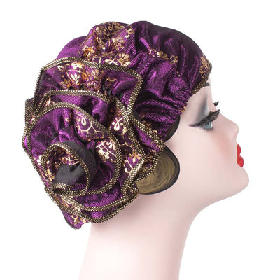 Silvia Flower Turban_Turbans_Head covering_Modest_Elegant Turban_Purple