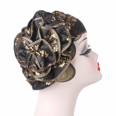 Silvia Flower Turban_Turbans_Head covering_Modest_Elegant Turban_Black