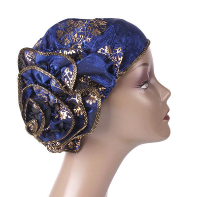 Silvia Flower Turban_Turbans_Head covering_Modest_Elegant Turban_Blue