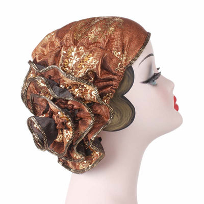 Silvia Flower Turban_Turbans_Head covering_Modest_Elegant Turban_Orange