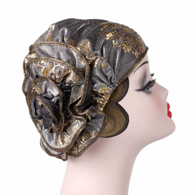 Silvia Flower Turban_Turbans_Head covering_Modest_Elegant Turban_Silver