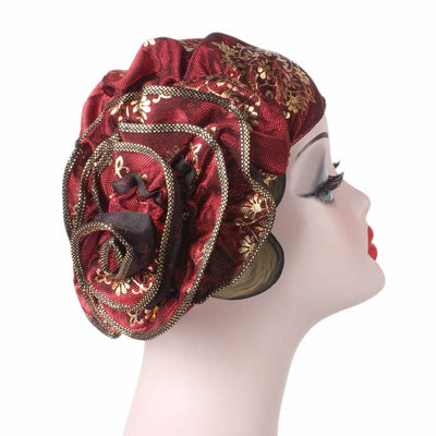 Silvia Flower Turban_Turbans_Head covering_Modest_Elegant Turban_Red