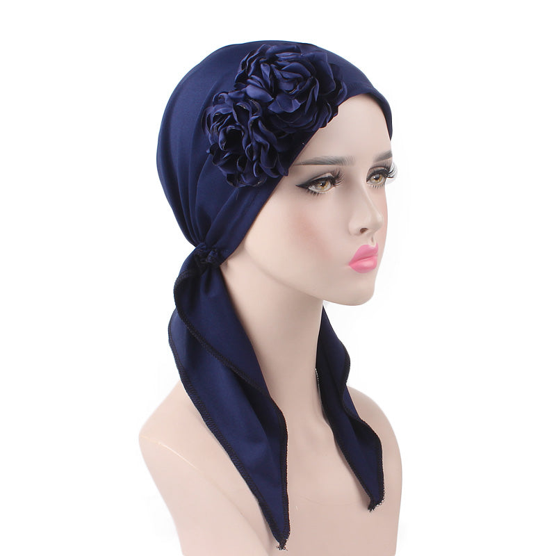 Cynthia Big Flower Bandana_Turban_Bandanna_Cancer hat_Chemo hat_Beanie hat_Blue