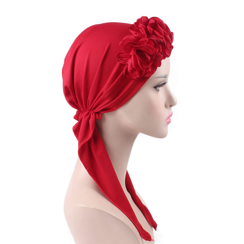Cynthia Big Flower Bandana_Turban_Bandanna_Cancer hat_Chemo hat_Beanie hat_Red