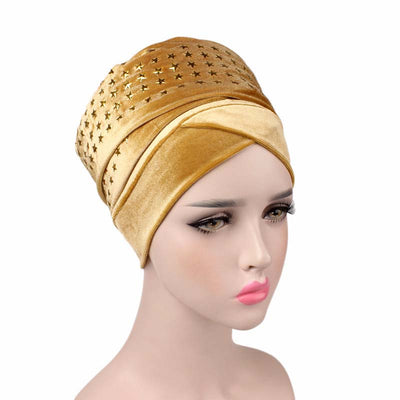 Star Velvet Headwrap_Headscarf_Headwear_Head covering_Headscarves_Gold