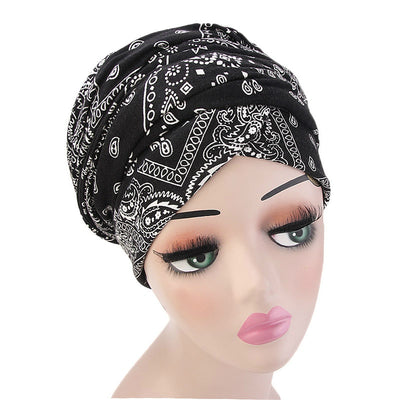 Tamara Bohemian Style Turban_Cotton_Headwear_Head_covering_Headscarves_Basic_chemo_Hat_Pre_Tied_Multi_Color_Summer_Geometric_Black