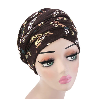 Tamara Bohemian Style Turban_Cotton_Headwear_Head_covering_Headscarves_Basic_chemo_Hat_Pre_Tied_Multi_Color_Summer_Geometric_Brown
