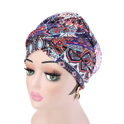 Tamara Bohemian Style Turban_Cotton_Headwear_Head_covering_Headscarves_Basic_chemo_Hat_Pre_Tied_Multi_Color_Summer_Geometric_Multi-5