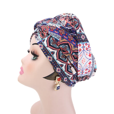 Tamara Bohemian Style Turban_Cotton_Headwear_Head_covering_Headscarves_Basic_chemo_Hat_Pre_Tied_Multi_Color_Summer_Geometric_Multi-4