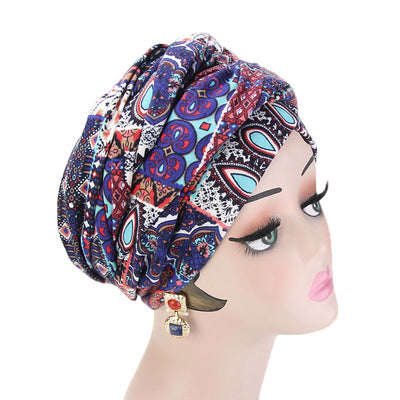Tamara Bohemian Style Turban_Cotton_Headwear_Head_covering_Headscarves_Basic_chemo_Hat_Pre_Tied_Multi_Color_Summer_Geometric_Multi-2