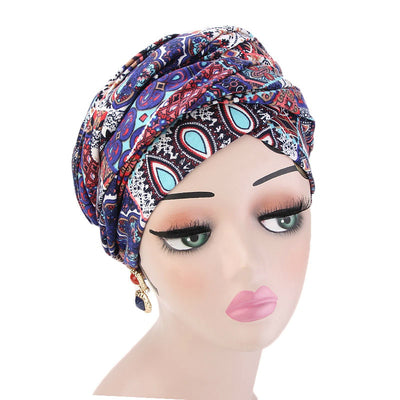 Tamara Bohemian Style Turban_Cotton_Headwear_Head_covering_Headscarves_Basic_chemo_Hat_Pre_Tied_Multi_Color_Summer_Geometric_Multi-6