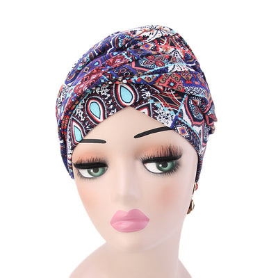 Tamara Bohemian Style Turban_Cotton_Headwear_Head_covering_Headscarves_Basic_chemo_Hat_Pre_Tied_Multi_Color_Summer_Geometric_Multi