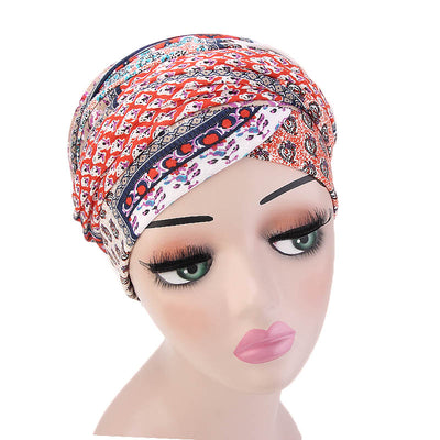 Tamara Bohemian Style Turban_Cotton_Headwear_Head_covering_Headscarves_Basic_chemo_Hat_Pre_Tied_Multi_Color_Summer_Geometric_Red