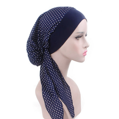 Taylor Cotton Bandanna_Turban_Head wrap_Cancer hat_Chemo hat_Beanie_hat_Blue_Dot