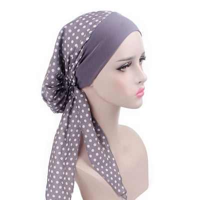 Taylor Cotton Bandanna_Turban_Head wrap_Cancer hat_Chemo hat_Beanie_hat_Dot_Gray
