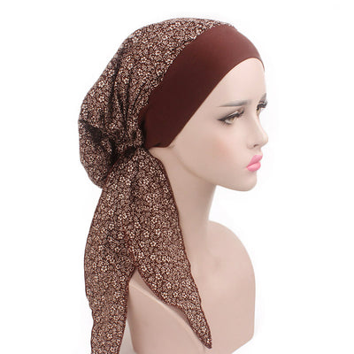 Taylor Cotton Bandanna_Turban_Head wrap_Cancer hat_Chemo hat_Beanie_hat_Floral_Brown