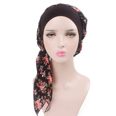 Taylor Cotton Bandanna_Turban_Head wrap_Cancer hat_Chemo hat_Beanie_hat_Floral_Multi-6