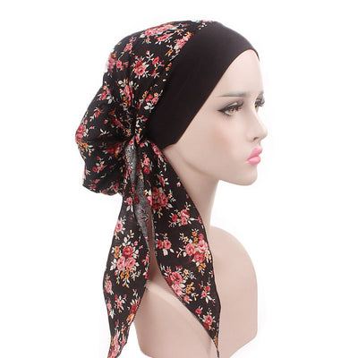 Taylor Cotton Bandanna_Turban_Head wrap_Cancer hat_Chemo hat_Beanie_hat_Floral_Multi