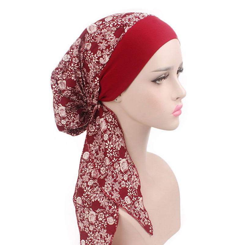 Taylor Cotton Bandanna_Turban_Head wrap_Cancer hat_Chemo hat_Beanie_hat_Floral_Red