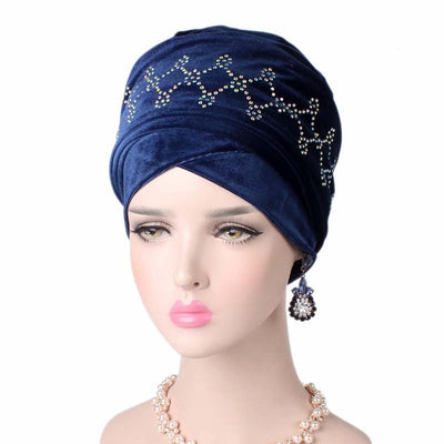 Teena Luxury Head Wrap_Headscarf_Head wear_Head covering_Headscarves_Head wraps_Blue