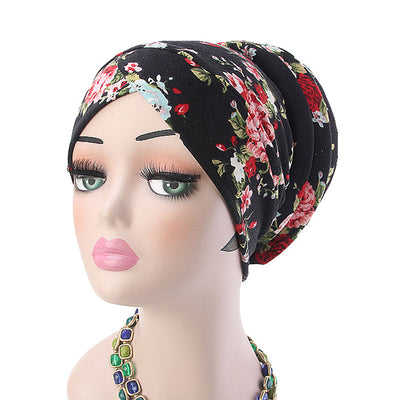 Temple printed Turban_Turbans_Head_covering_Modest_Headcovres_Flower_Cotton_Chemo hat_Cancer hat_African_Print_Basic_Pre_tied_Black