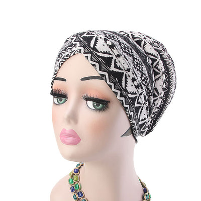 Temple printed Turban_Turbans_Head_covering_Modest_Headcovres_Flower_Cotton_Chemo hat_Cancer hat_African_Print_Basic_Pre_tied_Black_White