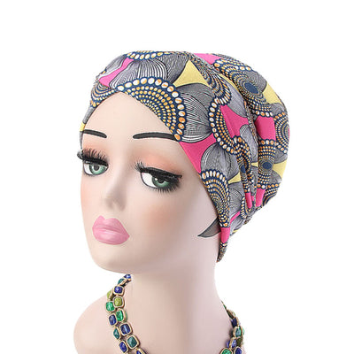 Temple printed Turban_Turbans_Head_covering_Modest_Headcovres_Flower_Cotton_Chemo hat_Cancer hat_African_Print_Basic_Pre_tied_Pink
