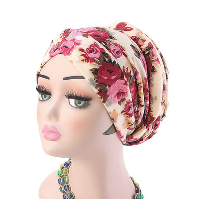 Temple printed Turban_Turbans_Head_covering_Modest_Headcovres_Flower_Cotton_Chemo hat_Cancer hat_African_Print_Basic_Pre_tied_Red
