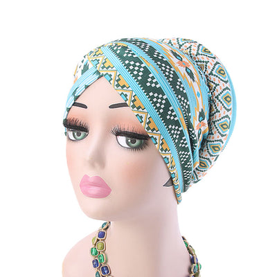 Temple printed Turban_Turbans_Head_covering_Modest_Headcovres_Flower_Cotton_Chemo hat_Cancer hat_African_Print_Basic_Pre_tied_Turquoise